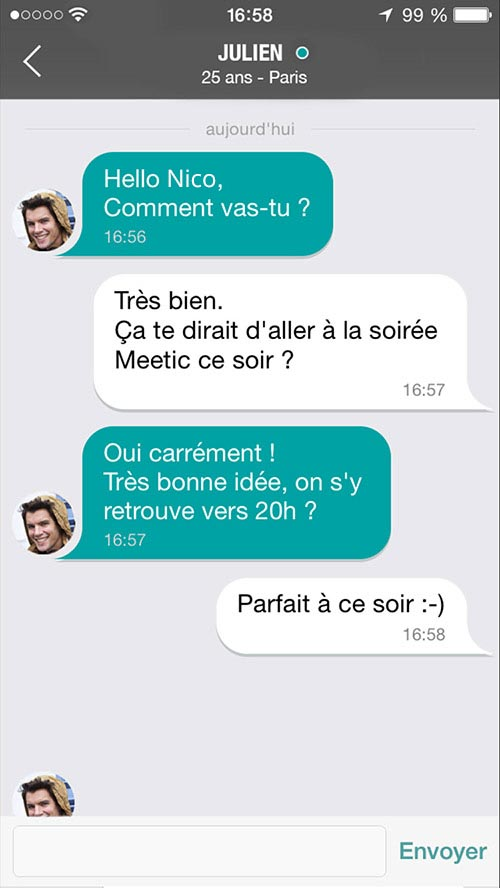 Chat sur Meetic mobile app